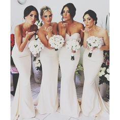 love this dresses but wouldn't use them for bridesmaid because they are white. Maybe in another color