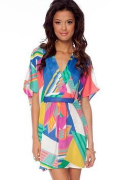 Color Me Crazy Kimono Tunic in Blue Multi :: tobi