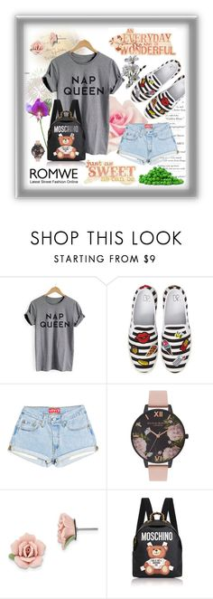 """""""#Grey Letter Print Cuffed T-shirt"""" by edin-levic ❤ liked on Polyvore featuring BP., Disney, Olivia Burton, 1928 and Moschino"""
