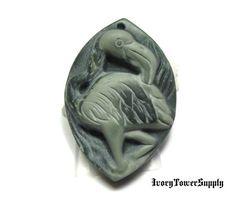 1 Flamingo Stone Pendant Bead, Natural Carved Stone Pendant, Semi precious Gemstone Bead, Focal Bead, Bird Pendant, Ribbon Jasper by IvoryTowerSupply on Etsy