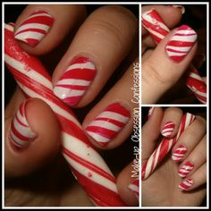 A cute peppermint patty candy cane nail design. Rock this for the holiday season.