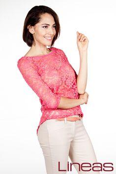 Blusa, Modelo 19745. Precio $160 MXN y Pantalón, Modelo 19800. Precio $200 MXN #Lineas #outfit #moda #tendencias #2014 #ropa #prendas #estilo #primavera #outfit