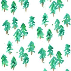 Greem Watercolor Fabric - Pine Trees By Erinanne - Pine Tree Cotton Fabric By The Yard With Spoonflower