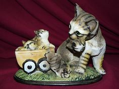 Vintage Porcelain Cat and Kittens Figurine Display - SOLD