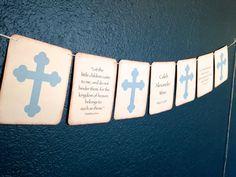 Christening Banner - Baby Boy Blue - Cross - Baptism Banner - Vintage Baby Shower Banner - Nursery Decor - Ivory - Bible verses - $20