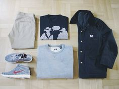 Outfitgrid - Edwin chinos / Rockwell tee / Carhartt jacket / Levis crewneck / Nike Lunar Flyknit Chukka shoes