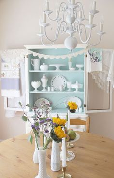 Painted china cabinet + milk glass- blue and white - peaceful.