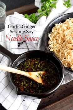 A complete dinner, from start to finish, in less than 15 minutes - yes, it's possible! Garlic Ginger Sesame Soy Noodle Sauce is all the proof you need! Noodle Sauce Recipe, Soy Sauce Noodles, Soy Sauce Eggs, Soy Ginger Sauce, Sauce For Rice, Recipes With Soy Sauce, Asian Noodle Recipes, Asian Recipes, Kitchens