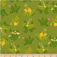 Heather Ross Sleeping Porch Lawn Bouquet Olive