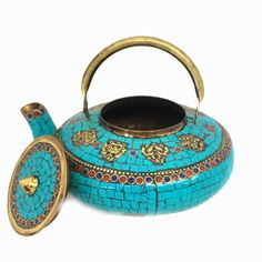 Beautiful & unique antique Tibetan teapot, with turquoise & coral inlay!
