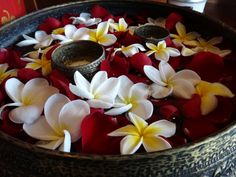 I love candles and flowers in floating dishes, which is a very Thai tradition.