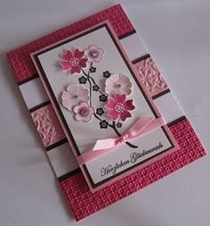 Gorgeous handmade birthday card in pink with flowers and ribbon and layering