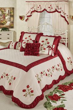 Dream like a sleeping beauty beneath the Briar Rose Floral Oversized Bedspread. Grande bedspread has a 24 drop and dark red and blush vining rose embroidery. Bed Cover Design, Bed Design, Bed Sheet Painting Design, Designer Bed Sheets, Royal Bedroom, Home Curtains, Luxury Bedding Collections, Curtain Designs, Bed Covers