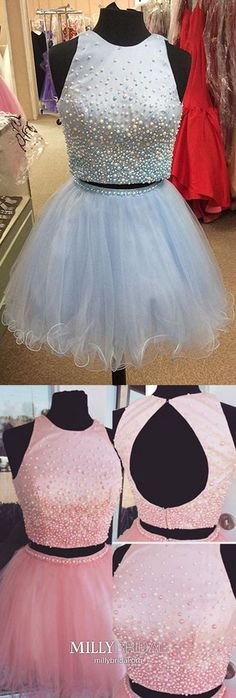 Blue Homecoming Dresses Two Piece, Short Prom Dresses Princess, Satin Party Dresses Open Back, Pearl Sweet 16 Tulle Cheap Pageant Dresses, Princess Prom Dresses, Party Dresses, Dress Party, Ball Dresses, Vintage Homecoming Dresses, Two Piece Homecoming Dress, Graduation Dresses, Formal Dresses For Teens