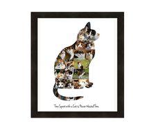 Kat minnaar cadeau, Crazy Cat Lady Wall Art Print, gepersonaliseerd fotocollage - op maat van uw foto