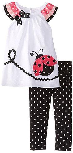 Rare Editions Baby Baby 'Ladybug Jogo Applique Legging, Branco / Preto, 18 Meses