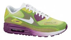 Nike WMNS Air Max 90 Lunar- Green, Purple, and White