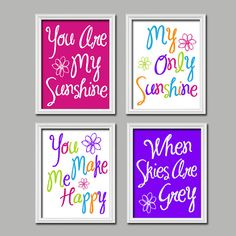 Cute Bright Colorful Pink Purple You Are My Sunshine Quote Crib NURSERY Song Print Artwork Set of 4 Prints WALL Baby Decor ART Picture on Etsy, $33.00