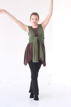 Waterfall Drape Vest in moss green. $59.00. Made in USA. jqloveu.com