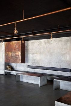 like the bronze and concrete 25 Fabulous Interior Designs with Cooper Details #industrialdesign