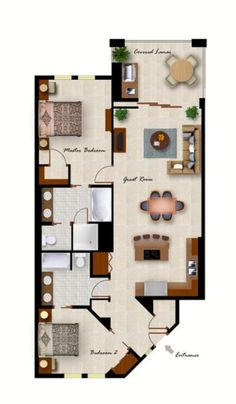 Two bedroom floor plan for 2 bedroom casita plans