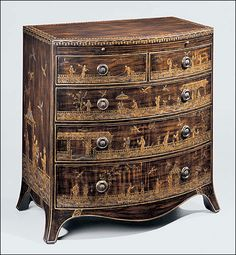 """Hand-painted five drawer chest with Chinoiserie scenes, pull-out writing shelf and antiqued brass hardware; 28"""" w. x 18"""" d. x 30"""" h."""