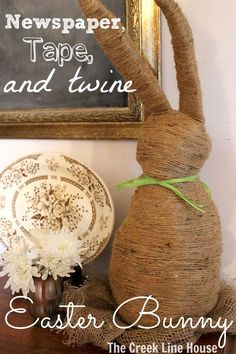 An Easter Bunny for your Spring decor made out of just newspaper, tape, and twine!