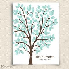 Wedding Guest Book Alternative - The Dreamwik - A Peachwik Interactive Art Print - 125 guest sign in - Chevron Pattern Wedding Dreams Tree via Etsy