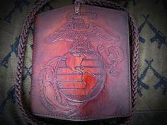 Leather Biker Wallet  United States Marine by LabrysLeatherworks