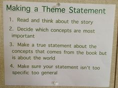 Theme Statements in Critical Literacy