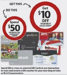 Get $10 OFF from Coles on next purchase when you buy a $50 Gift Card