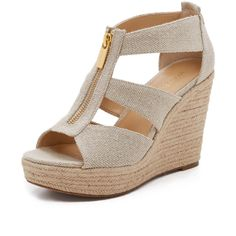 MICHAEL Michael Kors Damita Wedge Sandals ($99) ❤ liked on Polyvore featuring shoes, sandals, natural, wedge heel shoes, braided sandals, canvas shoes, wedges shoes and wedge sandals