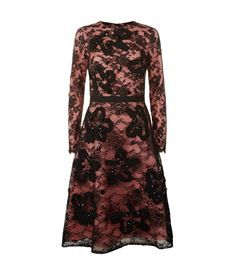 View the Lace Overlay Long Sleeve Dress by Oscar De La Renta