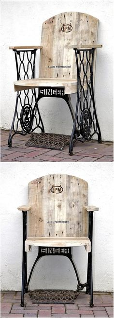 If someone thinks that creating the full furniture piece with the pallets looks inappropriate to place for adorning a room well, then here is an idea of creating reclaimed pallet chair with the stylish ready-made legs to make it look eye catching. Reclaimed Furniture, Repurposed Furniture, Pallet Furniture, Furniture Projects, Furniture Plans, Vintage Furniture, Wood Projects, Woodworking Projects, Furniture Stores