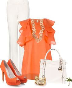 A fashion look from January 2013 featuring red blouse, dress pants and orange shoes. Browse and shop related looks. Business Casual Outfits, Professional Outfits, Looks Plus Size, Office Fashion, Fashion Outfits, Womens Fashion, Passion For Fashion, Spring Summer Fashion, Dress To Impress