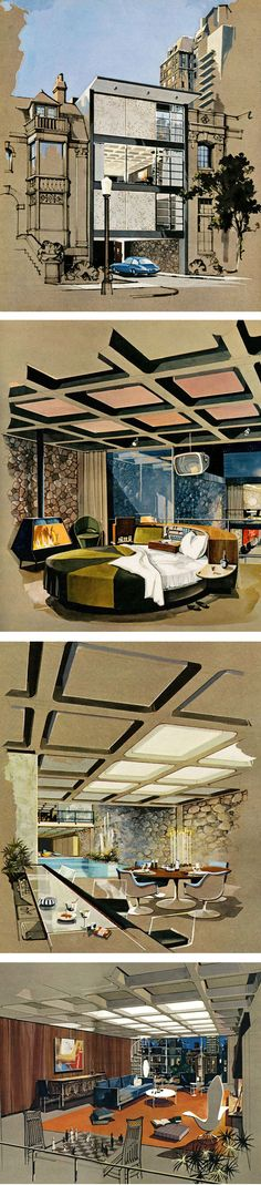 Winning entry for the 1962 competition to design a 'Playboy Town House' - A fantasy bachelor pad designed by architect R. Donald Jaye and rendered in gouache and ink by Humen Ten