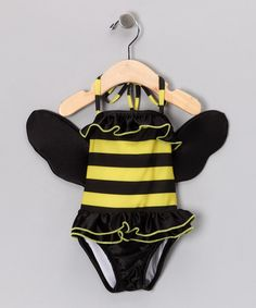 Take a look at this Yellow & Black Bumbalina One-Piece & Wings - Infant, Toddler & Girls by Teeny Wingkini on #zulily today!