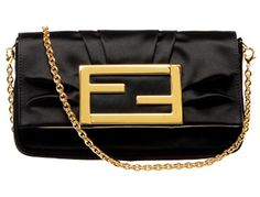 Duchesse silk-satin evening bag with pleat gathered details by Fendi    Polished gold metal Fendi clasp. Magnetic closure.