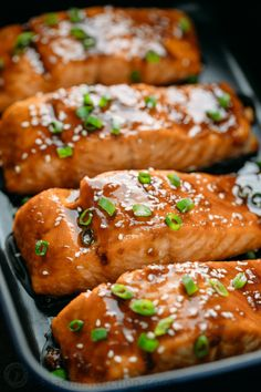 salmon recipes This teriyaki salmon recipe is a winner! Simple ingredients and no lengthy marinating needed. A flaky, juicy and delicious teriyaki glazed salmon recipe. Easy Salmon Recipes, Fish Recipes, Seafood Recipes, Cooking Recipes, Recipes For Salmon Filets, Simple Salmon Recipe, Quick Recipes For Dinner, Cooking Time, Fish Dishes