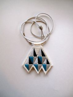 Geometric necklace embroidered grays and blue by AnAstridEndeavor inspired by #tuareg jewelry design #Africa
