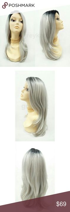 """Silver gray lace front heat resistant straight wig NOTE: The sheer lace for this wig has already been trimmed and matched to the hairline  Beautiful on-trend wig featuring straight layers, dark roots, and a handcrafted lace front with lace part for a seamless blend with your scalp. Made with premium heat resistant synthetic fiber.  Color: Light Silver Gray with Dark Roots (TT1B/60) Length: 19"""" inches Circumference: Default at 21"""" with adjustable cap (max 23"""") Materials: Premium Heat…"""