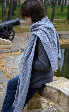 """Купить Теплый длинный вязаный мужской шарф""""Не замерзни, Дорогой! - серый, орнамент"""