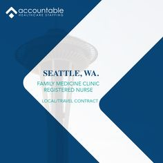 Take a trip with Accountable this spring to #Seattle, WA. We are looking for RNs interested in a day shift, Family Medicine assignment. This is an 8 hour shift with benefits. For more info call 469.453.2020 or visit www.ahcstaff.com/travelnursejobs/ to apply. #washington #Registerednurse Travel Nursing, Clinic, Seattle, Health Care, Medicine, How To Apply, Medical, Health