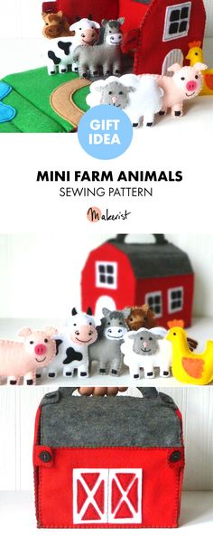Felt Barn and Mini Farm Animals - Sewing Pattern via Makerist.com #farmhouse #barn #farmanimals #sewing #sewingproject #sewingpattern #gifts #giftideas #kidsgifts #diy #crafts #handmade #handcrafted #cute #cuteanimals
