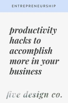 Productivity Hacks to Accomplish More in Your Business // Five Design Co. Workplace Productivity, Workplace Wellness, Productivity Apps, Email Marketing Tools, Marketing Plan, Affiliate Marketing, Media Marketing, Creative Business, Business Tips
