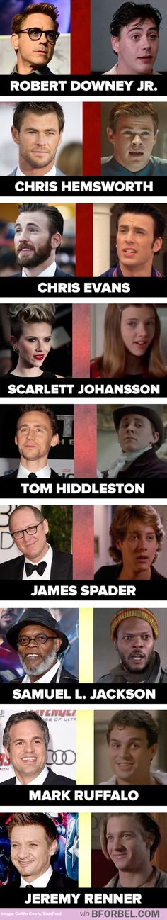The cast of the Avengers: Then and now >> Oh my gosh I just realize that James Spader mades Ultron's voice!