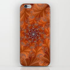 Abstract Brown and Orange Flower and Leaf Pattern iPhone Skin by suesmithphoto