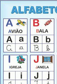 Atividades Escolares Cartaz Grande Do Alfabeto Com Quatro Tipos