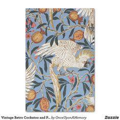 Vintage Retro Cockatoo and Pomegranate Pattern Tissue Paper