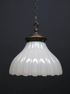 Single Fluted Opaline Light, Antique Lighting, Drew Pritchard